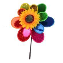 Красочная ветряная мельница в виде подсолнечника, ветряная вертушка, детские игрушки, дворовый садовый декор, дизайн подсолнуха, пластмассовые украшения для сада, вращающиеся