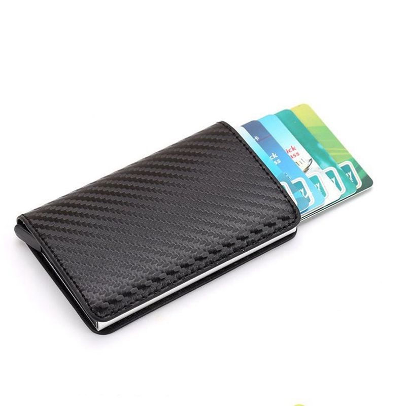2020 Credit Card Holder Men Crazy Horse PU Leather Business Bank Card Wallet Women Aluminum Rfid ID Card Case Cardholder Purse