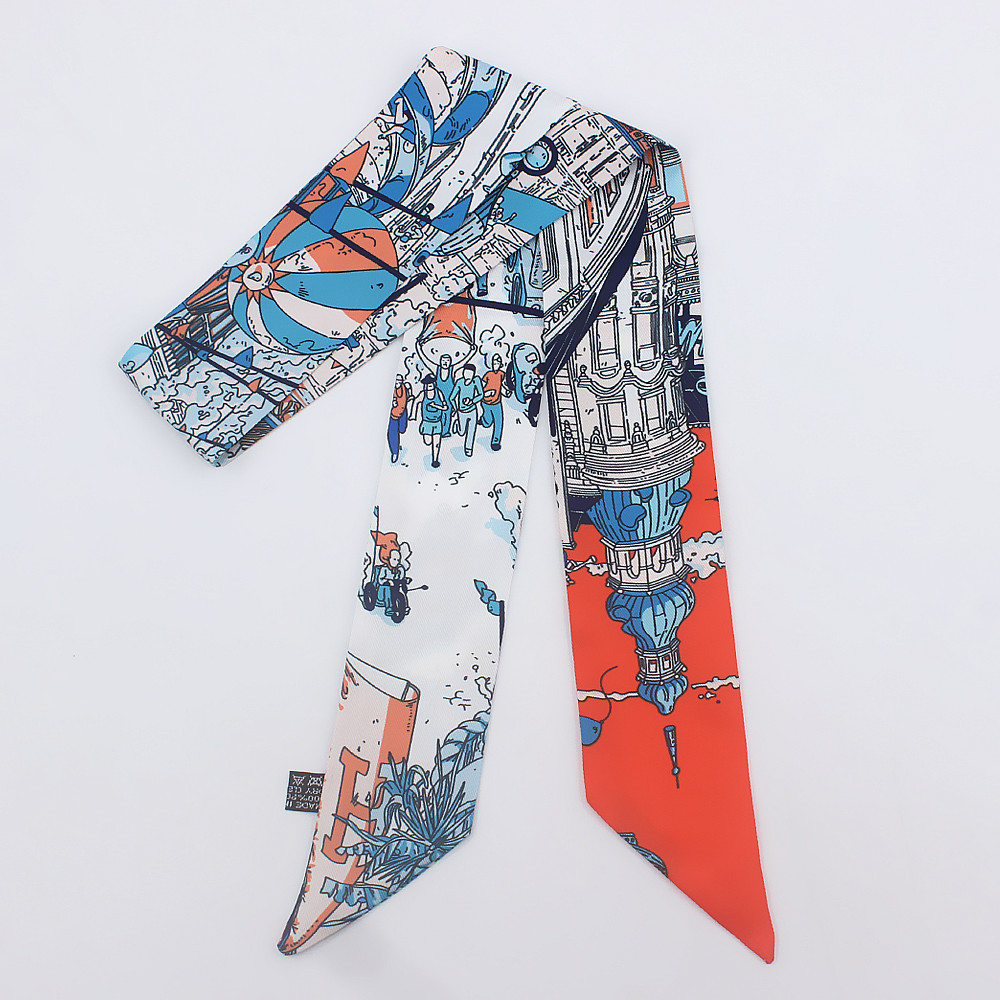 New Scarf Small Scarf National Wind Flower Wild Family Headdress Hair Band Small Scarves Spring And Summer Palace Castle