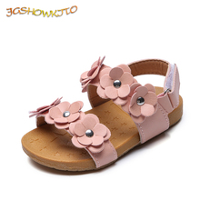 JGSHOWKITO Baby Girl Medium Kids Sandals With Florals Sweet Princess Soft Quality Children #8217 s Beach Sandals For Girls Size 21-30 cheap Cow Muscle 13-24m 25-36m 7-12y CN(Origin) Summer Soft Leather Flat Heels Hook Loop Fits smaller than usual Please check this store s sizing info