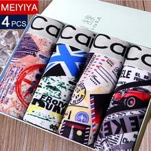 MEIYIYA 1 or 4 PCS Men's Underwear Cotton Boxers Man Breathable Panties Solid Sh