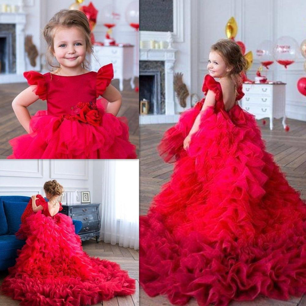Red Princess Flower Girls Dresses Jewel Neck Short Sleeves Tiered Ruffles Tulle Ball Gown Backless Birthday Communion Pageant Go