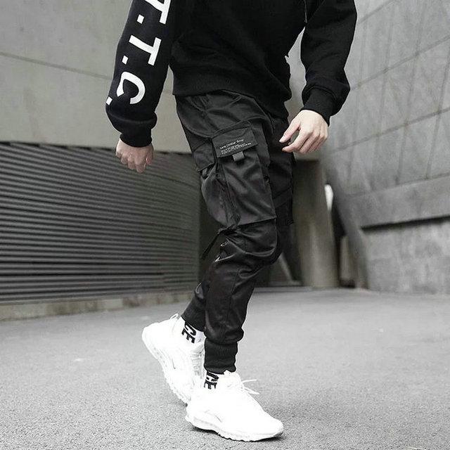 Ribbons Harem Joggers Men Cargo Pants Streetwear 2021 Hip Hop Casual Pockets Cotton Track Pants Male Harajuku Fashion Trousers 2