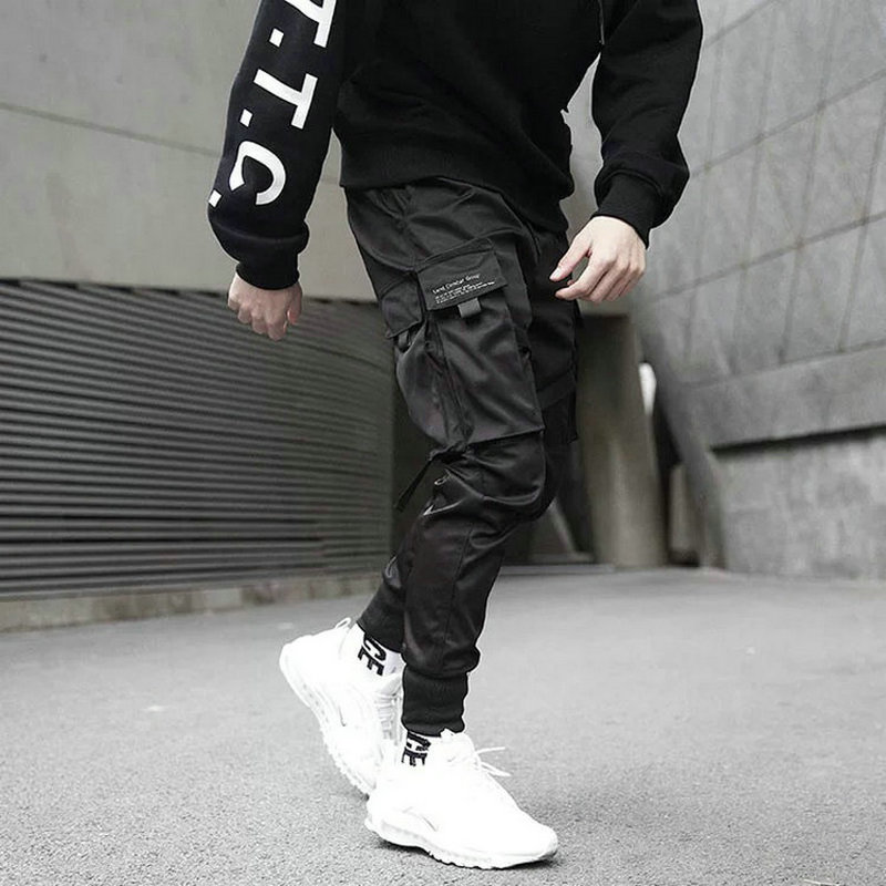 2020 Hip Hop Boy Multi-pocket Elastic Waist Harem Pants Men Streetwear Punk Casual Trousers Joggers Male Ankle-length Mens Pants
