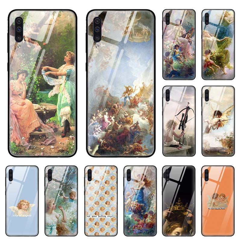 Angel Cupid Paint Art <font><b>Case</b></font> for <font><b>Samsung</b></font> Galaxy A50 <font><b>A70</b></font> A40 A30 s A10 A20s A51 A71 J4 J6 Plus M30s <font><b>Tempered</b></font> <font><b>Glass</b></font> Phone Coque Sac image