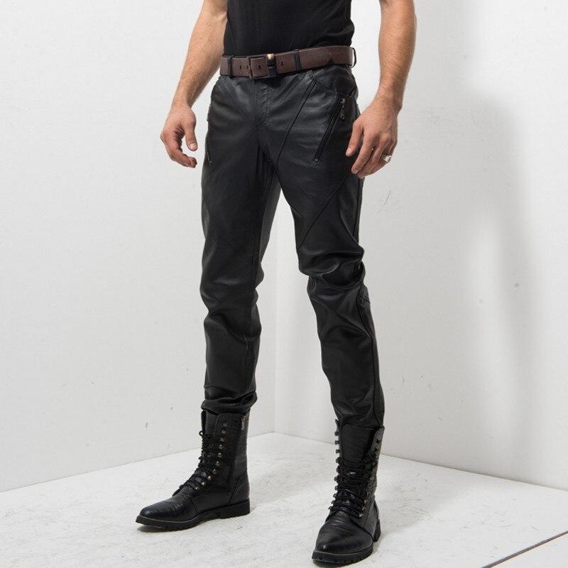 New Zipper Mens Slim Gentleman Windproof Middle Aged Pants Genuine Leather Pig Slim Motorcycle Biker Pants Male Fashion Trousers