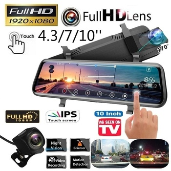 4.3/7/10 Inches Touch Screen 1080P Car DVR Night Vision Media Dash Camera Dual Lens Video Recorder Rearview Mirror Rear cameras