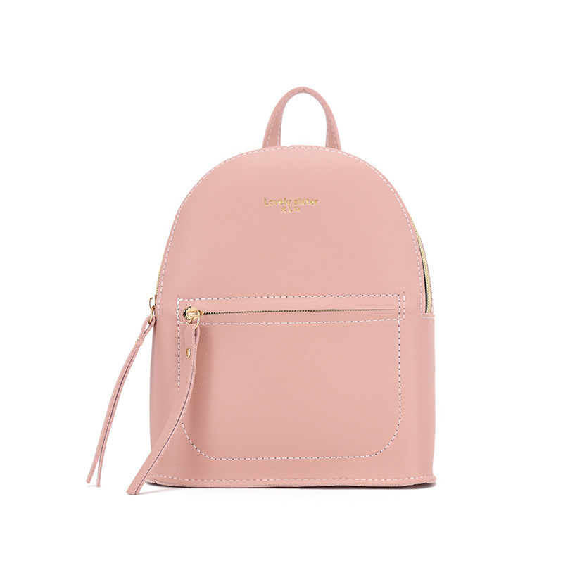 Backpack Lady Fashion Students School Bag Pink Litchi Pattern Zipper Bag Phone Purse Women's Backpack PU Leather Shoulder Bag
