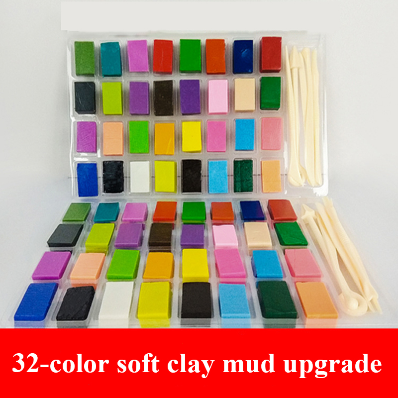32 Colors Polymer Clay Light Soft Clay DIY Soft Molding Craft Oven Baking Clay Blocks Birthday Gift For Kids Adult Safe Colorful