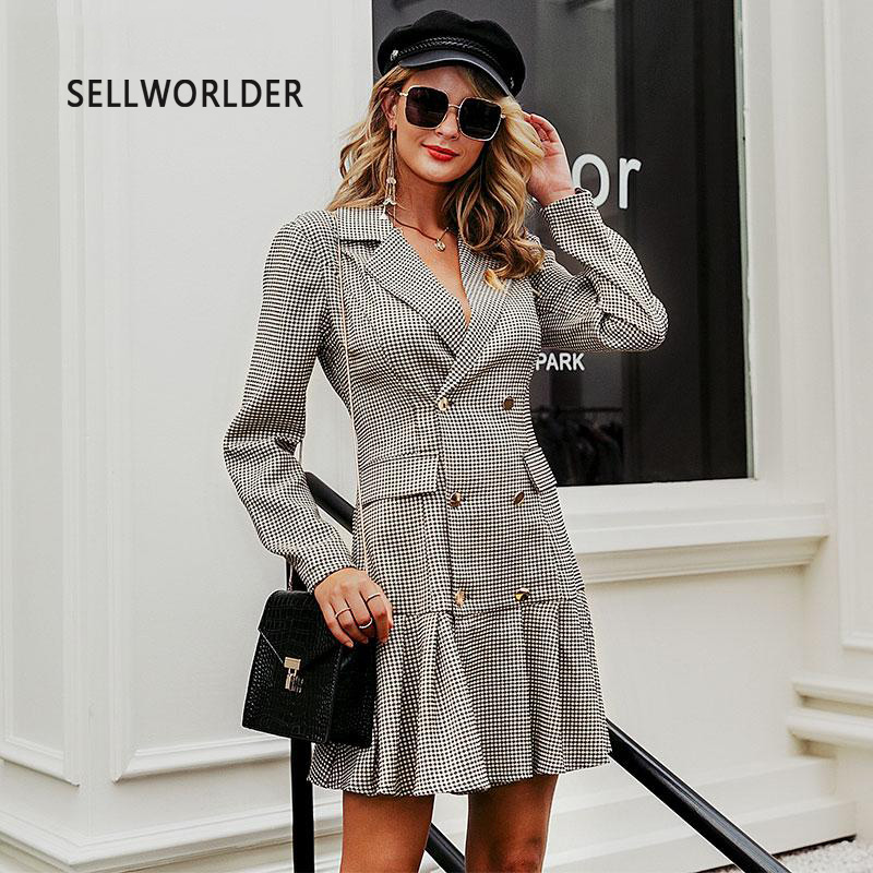 Women Office Plaid Dress Jacket  Autumn Double-breasted Blazer Pleated Long Sleeve Dresses Female Evening Dress Outerwear