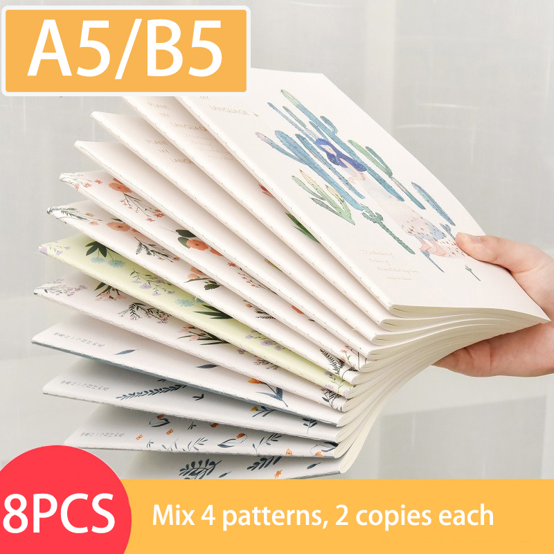 10pcs/set A5 Notebook Kawaii Cute Flowers Birds Animal Notebook B5 Painting of Diary Book Journal Record Office School Supplies