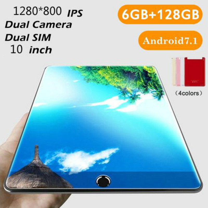 2020 New Design 10 Inch Android Tablets 6GB RAM 128GB ROM Android 8.0 10 Core IPS LCD 4G Phone Call SIM Card WiFi Pc Tablet