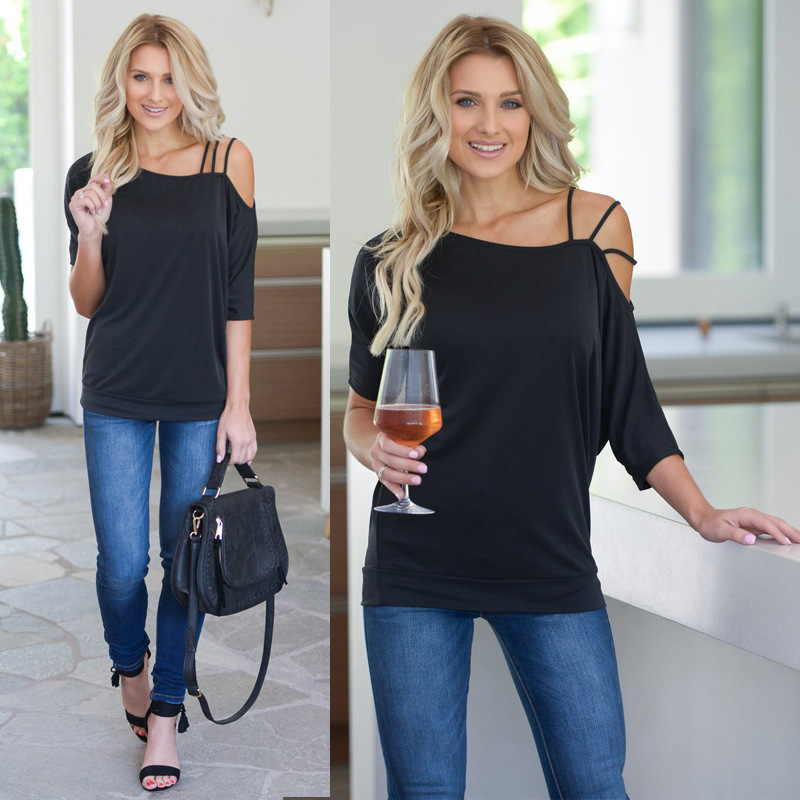 <font><b>2019</b></font> Summer Casual Loose T-Shirt Women One Shoulder Off Shirts <font><b>Sexy</b></font> Cotton Short Sleeves New Solid <font><b>Tops</b></font> <font><b>Fashion</b></font> Clothings image