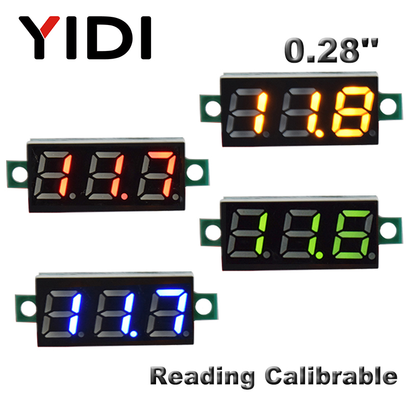 0.28inch DC 0-100V LED Digital Voltmeter DC2.5-30V Car Motorcycle Red Green Blue LED Voltage Reading Calibrable Tester Meter