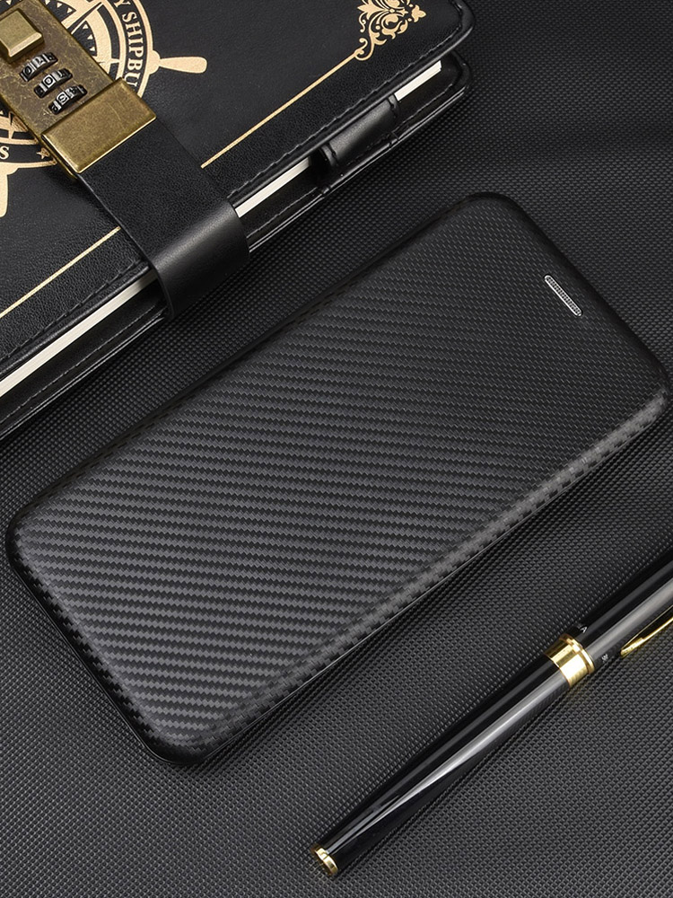 Book-Case Cover Carbon-Fiber 3-Card-Holder Magnetic Oneplus Nord Coque for Phone Flip