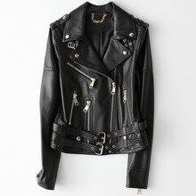 Primavera outono jaqueta de couro de ovelha curta casaco feminino preto casual alta qualidade real pele carneiro locomotiva estilo jaquetas outwear