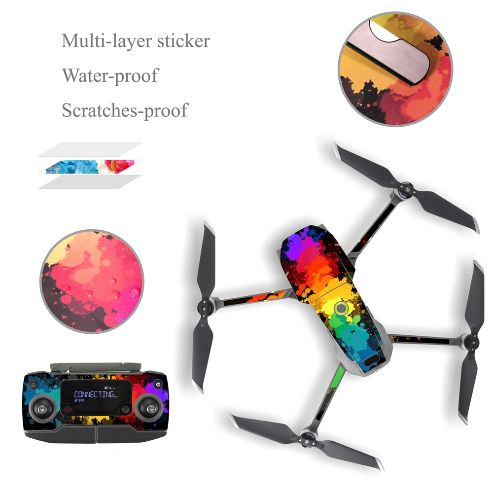 1 Set Waterproof PVC Stickers Decal Skin Cover Wrap Guard For DJI MAVIC 2 Pro Drone Body / Arm & Remote Controller