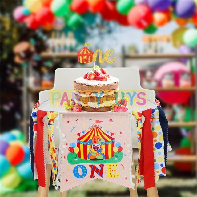 Cyrk karnawałowy motyw 1. Dekoracje urodzinowe zestaw jedno wysokie krzesło Banner brokat czerwony filc 1 tort urodzinowy Topper na przyjęcie do czapki