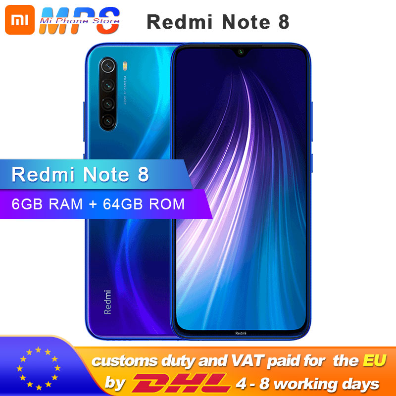 "Global ROM Xiaomi Redmi Note 8 6GB 64GB Smartphone Snapdragon  665 Octa Core  6.3"" 48MP  Rear Camera 4000mAh Support Phone"