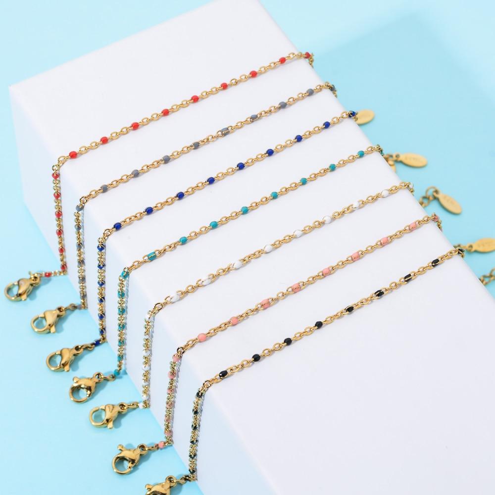 ZMZY Boho Stainless Steel Bracelets for Women Cute Enamel Bracelet Jewelry Gold Color Link Chain Bracelet Femme Mujer Pulsera