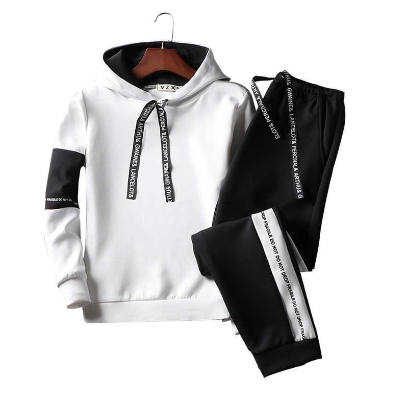 Sweat Suit Casual Trainingspak Mannen Sweatshirts Slanke Mannen Set Broek Suits Solid Lange Mouwen Mannelijke Kleding Hoodie + Broek Mannen 2019 Nieuwe