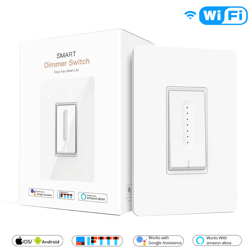 US WiFi Smart Light Dimmer Switch Smart Life/Tuya APP Work With Alexa Google Home IFTTT For Voice Control No Hub Required