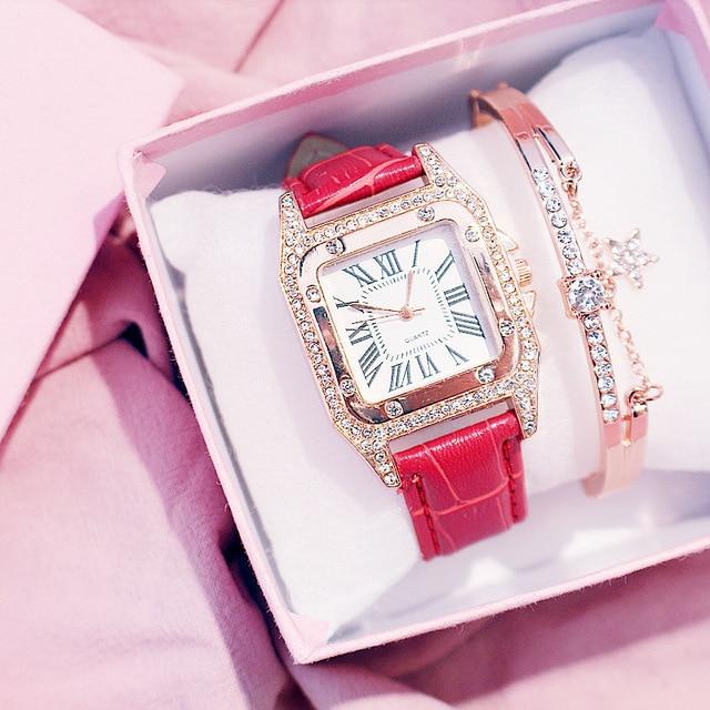 Diamond Luxury Bracelet set Ladies Casual Leather Band Quartz Wristwatch 4