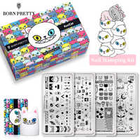 BORN PRETTY&KUNCAT Signed Jointly Nail Stamping Set Stamping Plate Cute Cat Stamp Template Nails Stamper Scraper Nail Art Tools