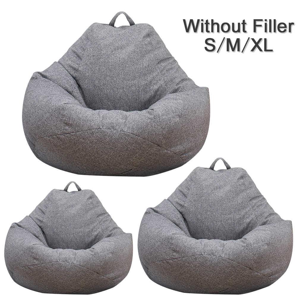 Büyük küçük tembel kanepeler kapak sandalyeler dolgu olmadan keten kumaş şezlong koltuk fasulye torbası puf kanepe Tatami oturma odası