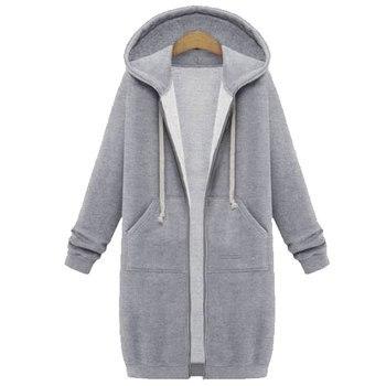 Spring 2020 Casual Hoodie Zipper Long Coat Sweatshirt Women Zip Up Loose Oversized Jacket Coat Women Hoodies Outwear Tops 16