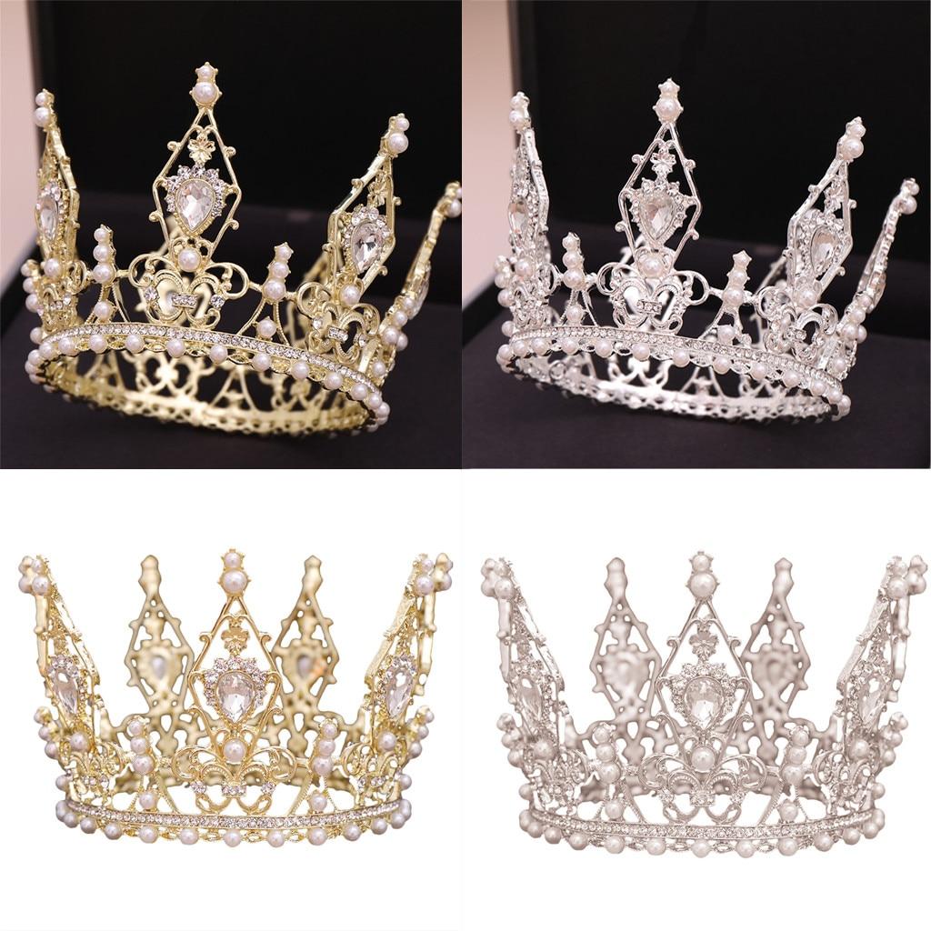 Wedding Bridal Princess Headband Rhinestone Crystal Pearl Crown Headwear Chapeus de noiva Bruids hoofddeksels
