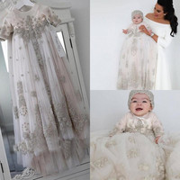 Luxury Silver Beading Baby Baptism Gown Long Sleeves Lace Appliqued Baptism Dresses With Bonnet Christening Dress with Hat
