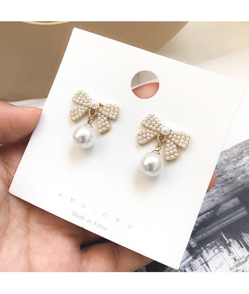 Hot S925 silver needle hypoallergenic wild big pearl bow earrings girl small fresh sweet beauty ear jewelry in Drop Earrings from Jewelry Accessories
