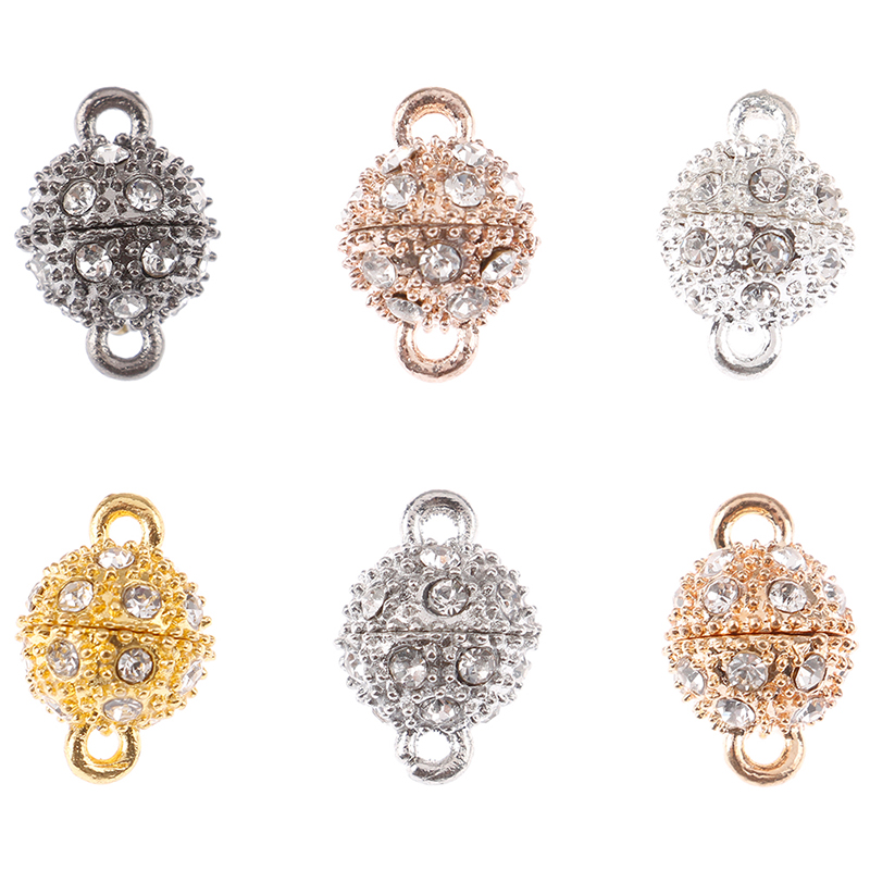 Rhinestone Ball Clasp Connectors DIY Jewelry Keyring Hanging Ornament Making 10mm 12 Pcs Magnetic Lobster Clasp for Necklace Bracelet Golden and Silver