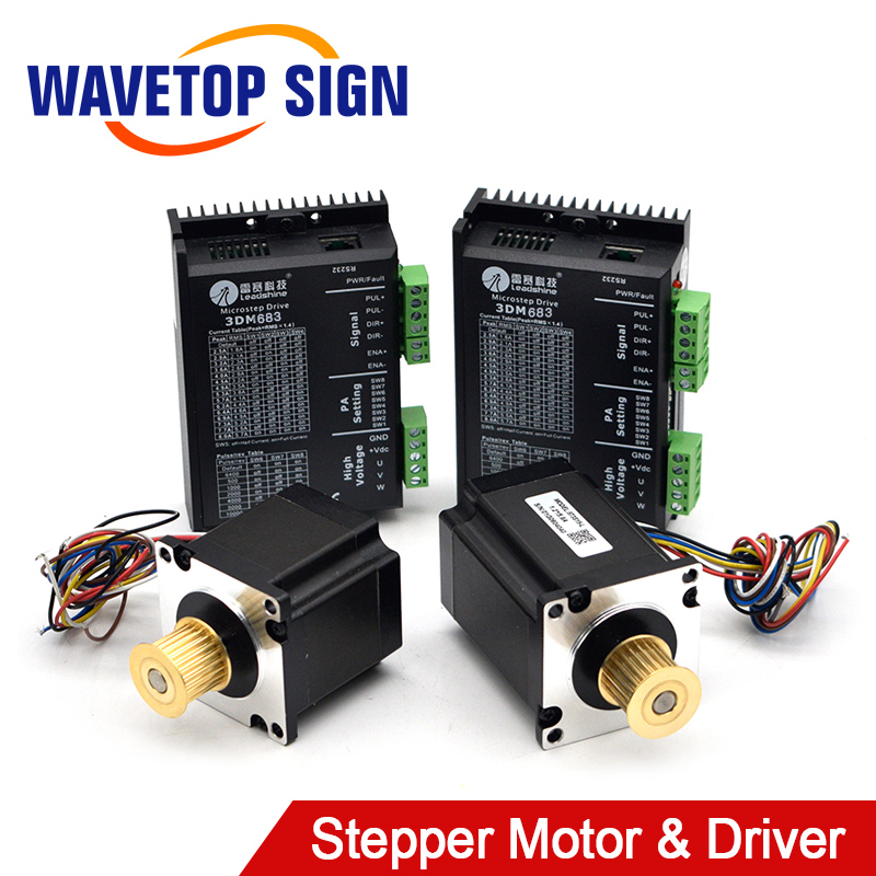 Leadshine 3 Phase Stepper Driver 3DM683 2Pcs Motor 573S09-L 1Pcs Motor 573S15-L 1Pcs For Co2 Laser Cutting And Engraving Machine