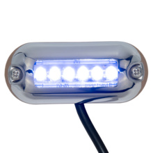 12V Marine Oval LED Underwater Light Blue Accent Light Surface Mount 6 LED IP68