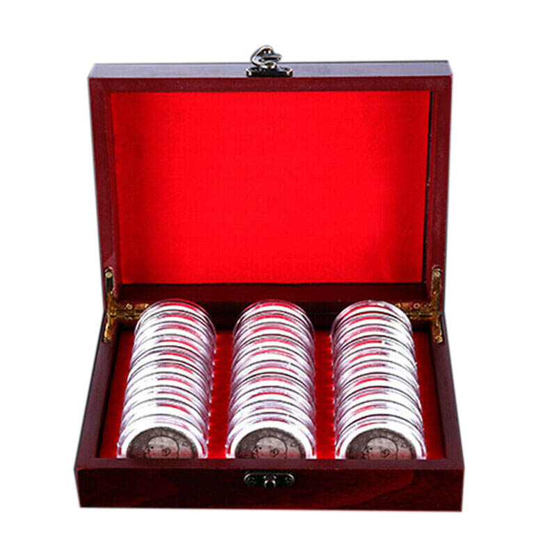 30Pcs 21.5cm Round Coins Container Display Storage Box Wooden Case for Coin Collection title=