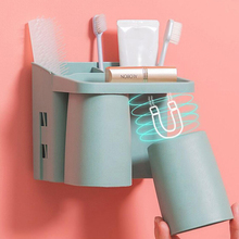 Wall-mounted toothbrush holder Magnetic suction Toothbrush cup set Bathroom accessories No perforated storage rack