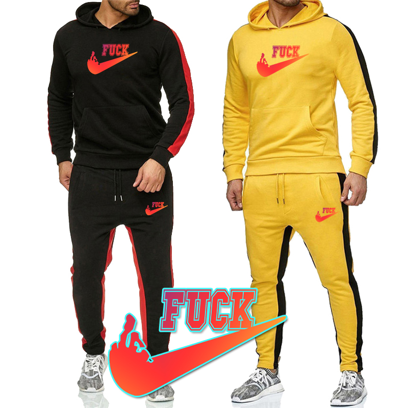 New Mens Sports Jogging Wear Printing Suit Casual Hooded Sweater Pants Cotton Sweatshirt Suit