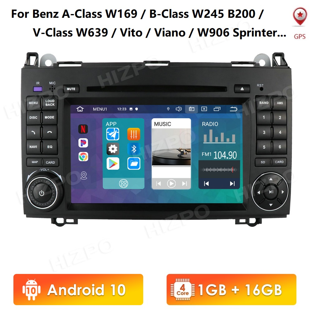 7 inch IPS 1G 16G <font><b>Android</b></font> 10 2 din car DVD player For <font><b>Mercedes</b></font> <font><b>Benz</b></font> A-class <font><b>W169</b></font> W245 W639 W906 Sprinter WIFI DVR DAB+ bluetooth image