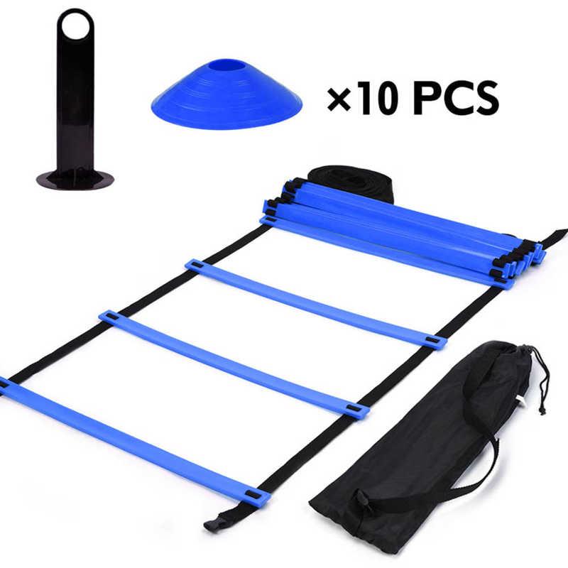 Лестницы для тренировок по футболу, набор для скоростного обучения, 19 футов, плоская лестница + 10 дисковых конусов для атлетических трениров...