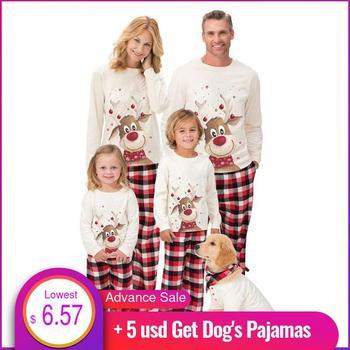 Conjunto de pijamas familiares de navidad 2020 con estampado de ciervo ropa a juego para familia regalos pijamas de navidad familiar pijama de 2 uds