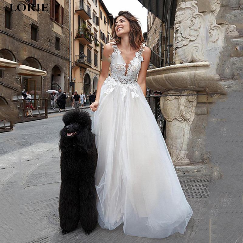 LORIE Boho A Line Lace Wedding Dresses Boho Lace Bride Dresses Floor Length Princess Wedding Gowns Vestidos De Novia