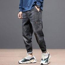 Fashion Streetwear Men Jeans Loose Fit Black Gray Color Spliced Denim Harem Pants Korean Style Hip Hop Taper Trousers