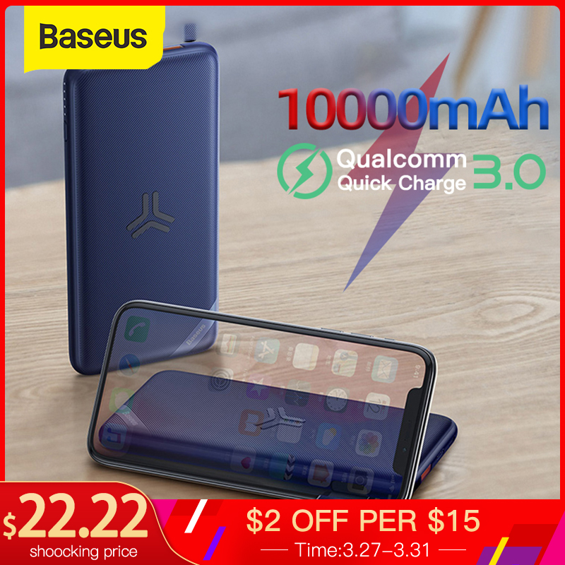 Baseus 10000mAh Power Bank Qi Wireless Charging Quick Charge 3.0 PD Powerbank For Xiaomi Samsung Portable External Battery