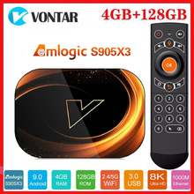 Vontar 8k amlogic s905x3 smart tv box android 9.0 max 4gb ram 128gb rom 1000m duplo wifi youtube google vs x96 max media player