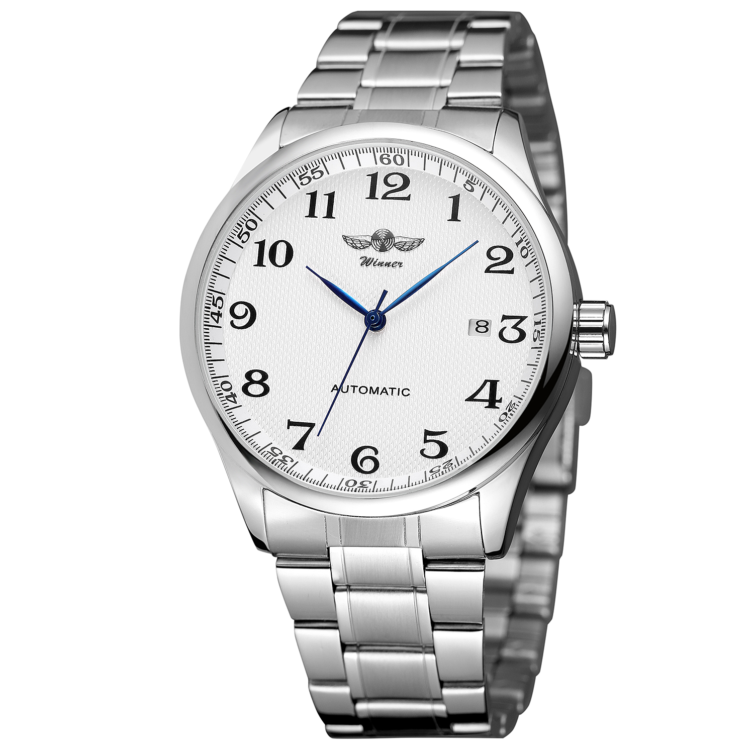 WINNER Fashion Men's And Women's Watch Stainless Steel Strap White Dial Automatic Mechanical Watch