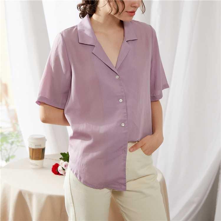 Colorgod nouveau 2020 femmes été Blouses chemises 5 couleurs à la mode crantée boutons décontracté coton et lin bureau hauts BL1037