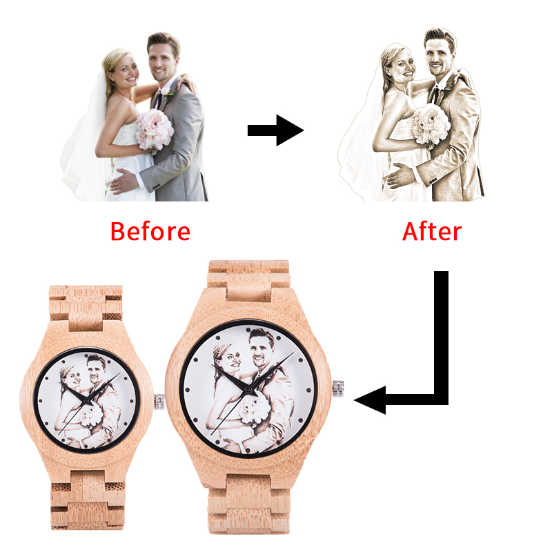 Customized Photos BOBO BIRD UV Printing Wooden Couple Watch Personality Laser Print For Gift Watches Dropshipping Reloj Mujer