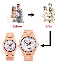 Customized Photos BOBO BIRD UV Printing Wooden Couple Watch